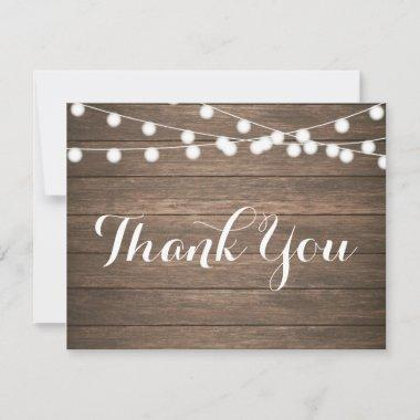 Rustic Wood String Lights Thank You Note Invitations