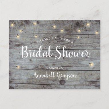 Rustic Wood Texture Fireflies Bridal Shower Invitation PostInvitations