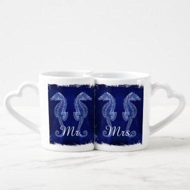 rustic wood vintage seahorse wedding mr and mrs coffee mug set