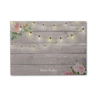Rustic Wood Watercolor Floral Elegant String Light Post-it Notes