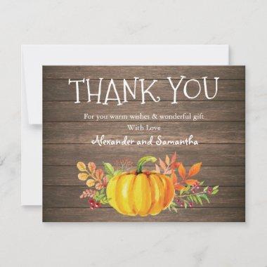 Rustic Wood Watercolor Pumpkin Fall Thank You