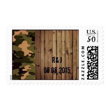 rustic wood western Camo Wedding save the date Postage