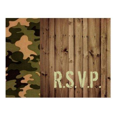 rustic wood western country Camo Wedding rsvp Post