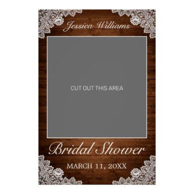 Rustic Wood & White Lace Bridal Shower Photo Prop Poster