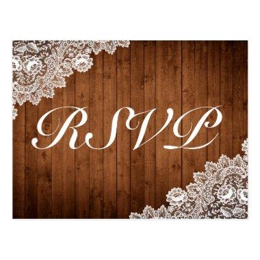 Rustic Wood & White Lace RSVP Invitation PostInvitations