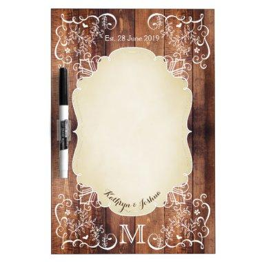 Rustic Woodland Wedding Photo Wood Panel Monogram Dry-Erase Board