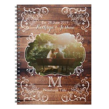 Rustic Woodland Wedding Photo Wood Panel Monogram Notebook