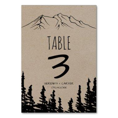 Rustic Woodsy Mountain Table Number