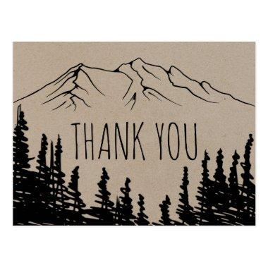 Rustic Woodsy Mountain Thank You PostInvitations