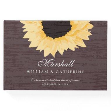 Rustic Yellow Sunflower Wedding Guest Book