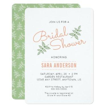 Sage Green Leaves and Coral  Invite