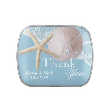 Sand Dollar and Starfish Blue Jelly Belly Candy Tin