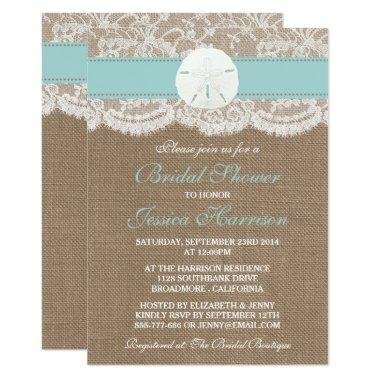 Sand Dollar Beach Bridal Shower - Turquoise Invitations