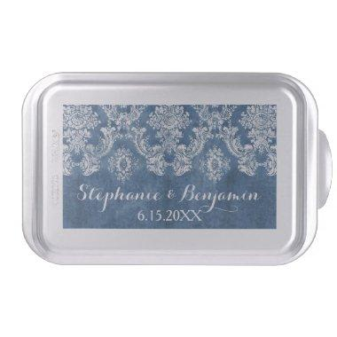 Sapphire Blue Rustic Damask Pattern Wedding Cake Pan