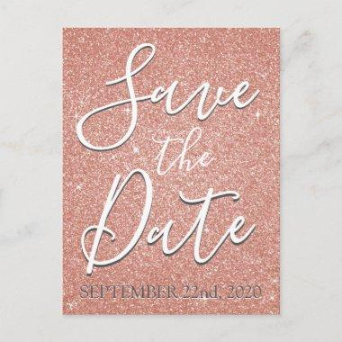 Save the Date Birthday Rose Gold Pink Glitter Announcement PostInvitations