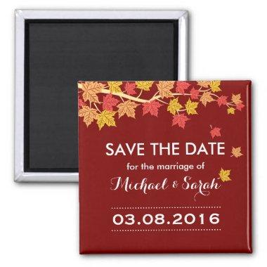 Save The Date Red Maple Leaves Fall Wedding Magnet