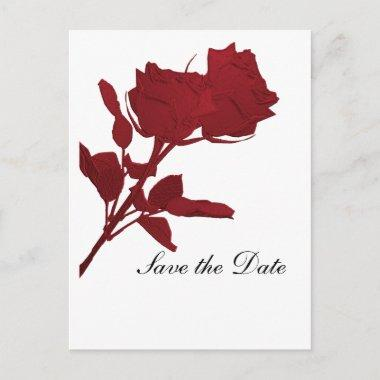 Save the Date Red Rose Template Post Invitations