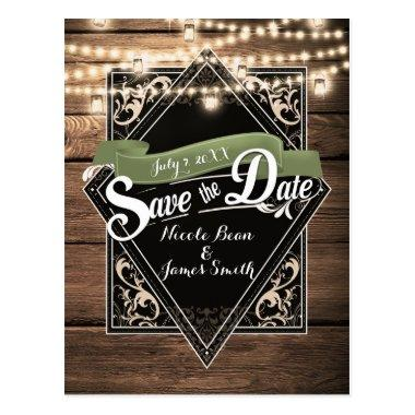 Save The Date Rustic Wood & Lights Engagement PostInvitations