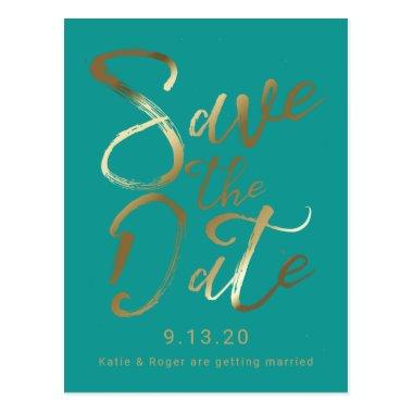 Save The Date | Splash of Gold PostInvitations