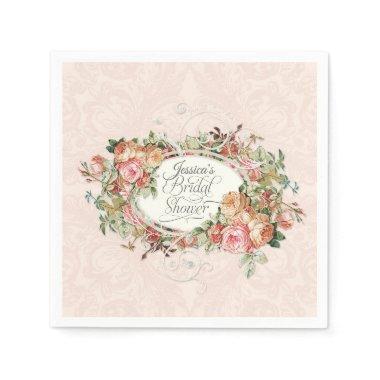 Script  Vintage Blush Floral Bouquet Paper Napkin