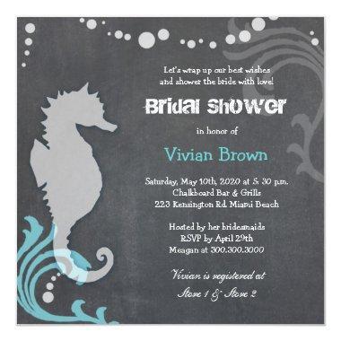 Sea Horse  Chalkboard Bridal Shower Invitations