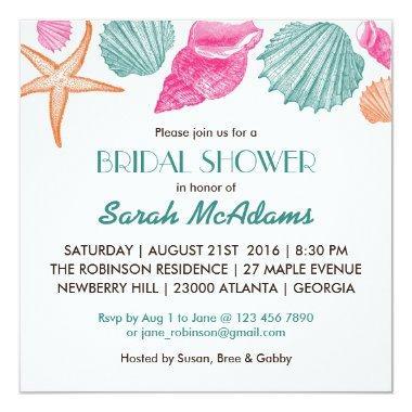 Sea Shells Beach Theme Bridal Shower Invitations