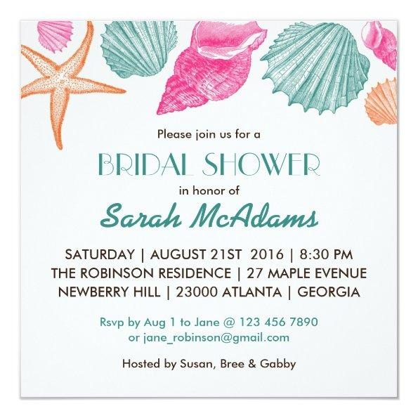 8eccf701b8e589 Sea Shells Beach Theme Bridal Shower Invitations – Unique Bridal Shower