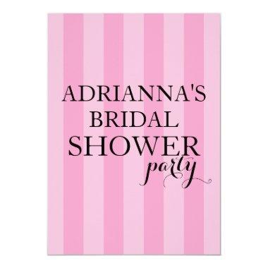 secret surprise bridal shower party pink stripes invitations