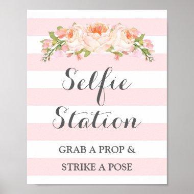 Selfie Station Wedding Sign Pink Flowers Stripes