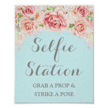 Selfie Station Wedding Sign Pink Watercolor Blue