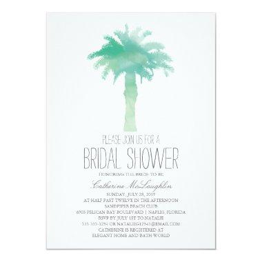 Serene Palm Tree Watercolor | Bridal Shower Invitations
