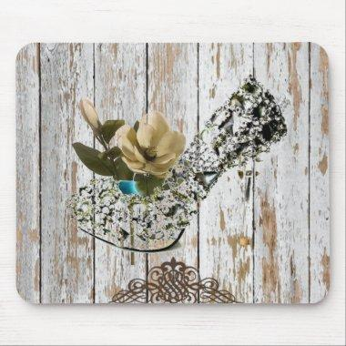 shabby chic barn wood country wedding mouse pad