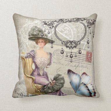 shabby chic chandelier Vintage victorian lady Throw Pillow