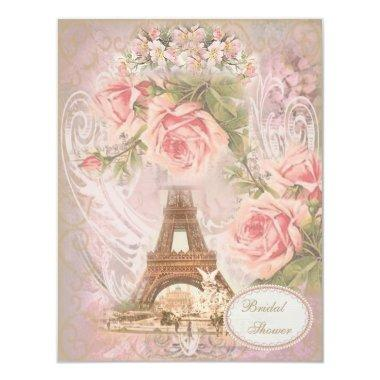Shabby Chic Eiffel Tower Pink Floral