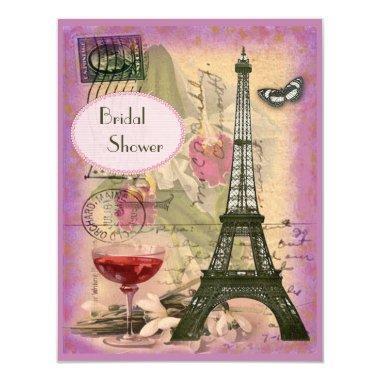 Shabby Chic Eiffel Tower & Red Wine Bridal Shower Invitations