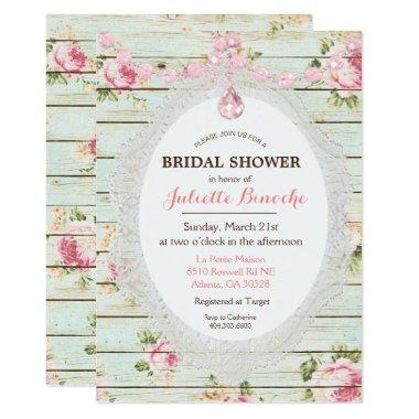Shabby Chic Floral Wood Bridal Shower Invitations