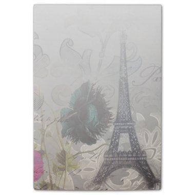 Shabby chic flower scripts paris eiffel tower post-it notes