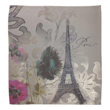 Shabby chic flower swirls paris eiffel tower bandana