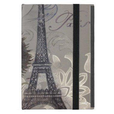 Shabby chic flower swirls paris eiffel tower iPad mini cover