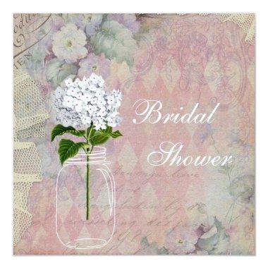 Shabby Chic Mason Jar & Hydrangea