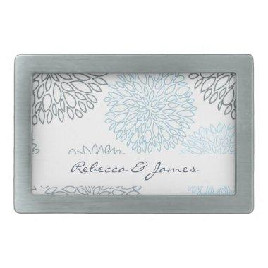 SHADES OF BLUE DAHLIA FLORAL PATTERN MONOGRAM BELT BUCKLE
