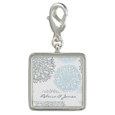 SHADES OF BLUE DAHLIA FLORAL PATTERN MONOGRAM CHARM
