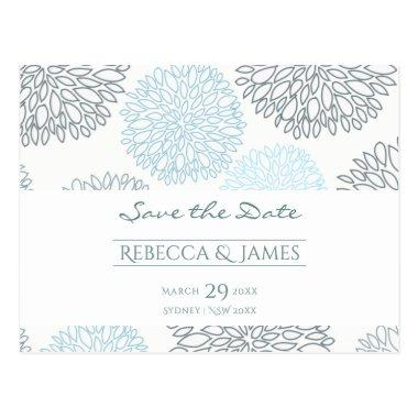 SHADES OF BLUE DAHLIA FLORAL PATTERN Save the date Post