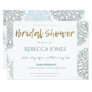 SHADES OF BLUE & GOLD DAHLIA PATTERN BRIDAL SHOWER Invitations