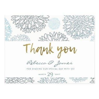 SHADES OF BLUE GOLD DAHLIA PATTERN THANK YOU POST