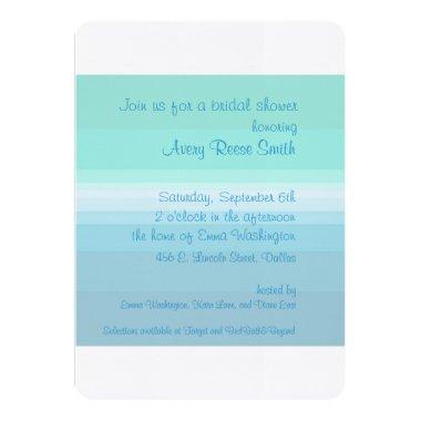 Shades of Blue Ombre Bridal Shower Invitations