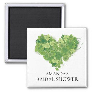 Shamrock Heart Bridal Shower Favor Magnet