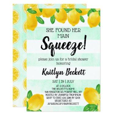She Found Her Main Squeeze Lemon Bridal Shower Invitations