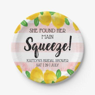 She Found Her Main Squeeze Lemon Bridal Shower Paper Plate