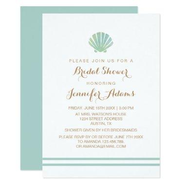 Shell Watercolor Aqua Bridal Shower Invitations